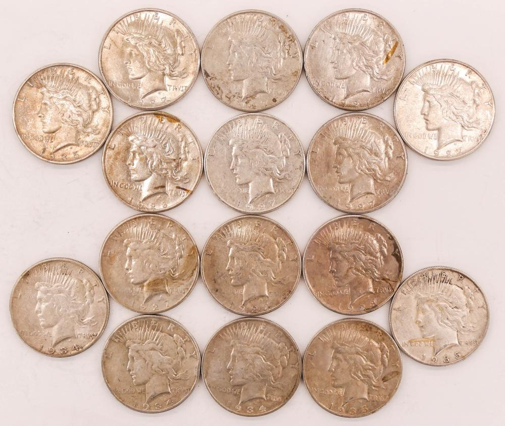 16pc US Peace Silver Dollars Scarcer Dates