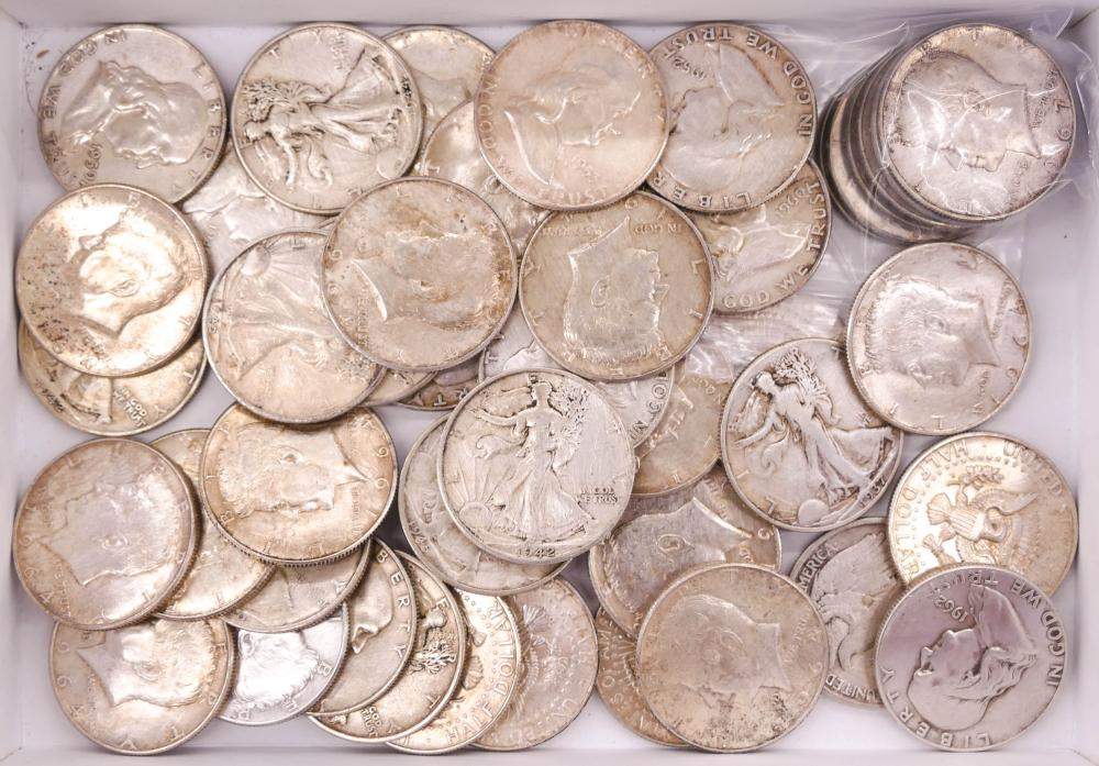 45pc US Assorted Silver Half Dollars