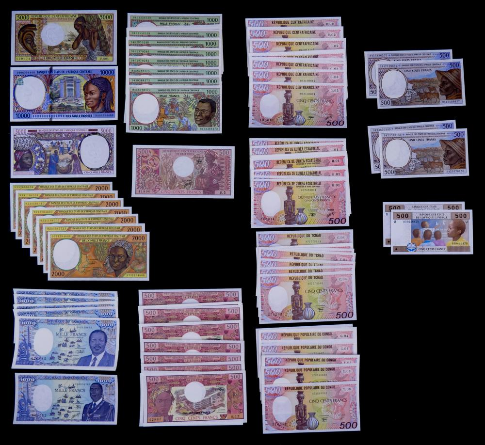 124pc  Central African Republic and Central African States Banknotes  UNC