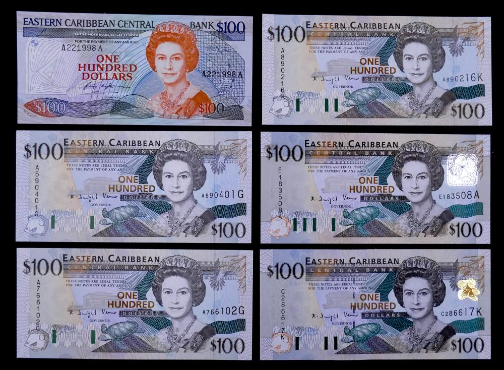 6pc Eastern Caribbean Banknotes UNC