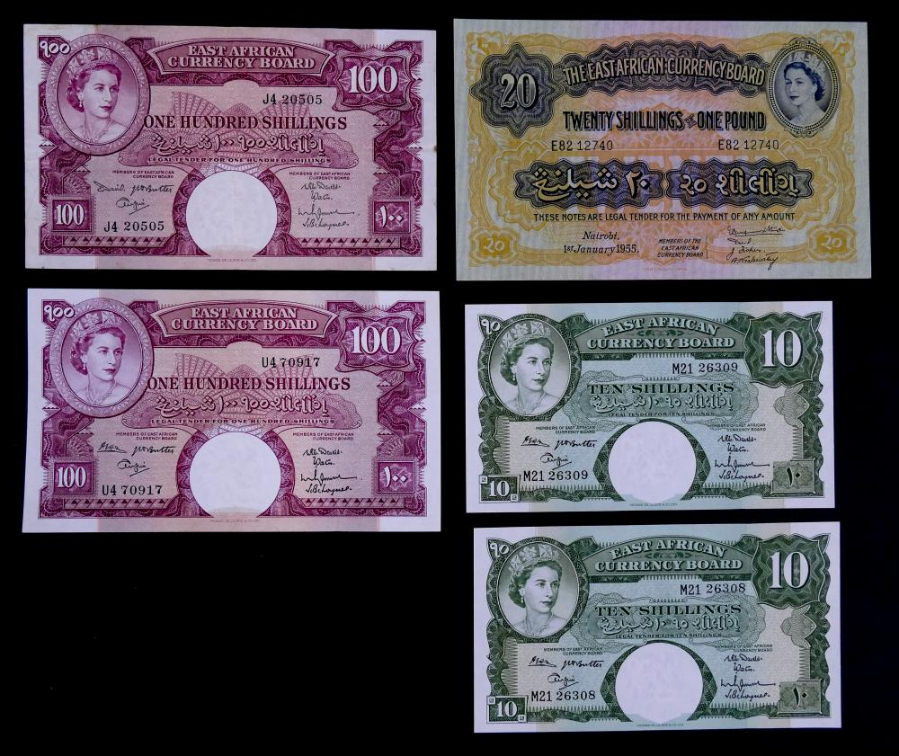 5pc East Africa Banknotes UNC