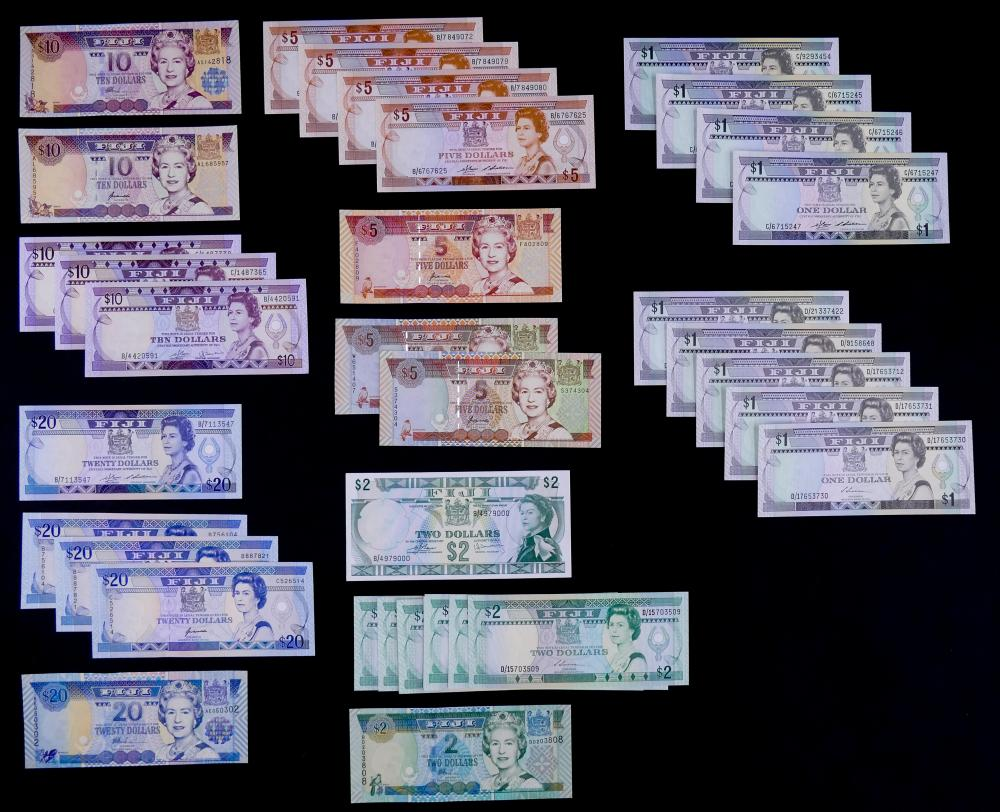 42pc Fiji Banknotes UNC