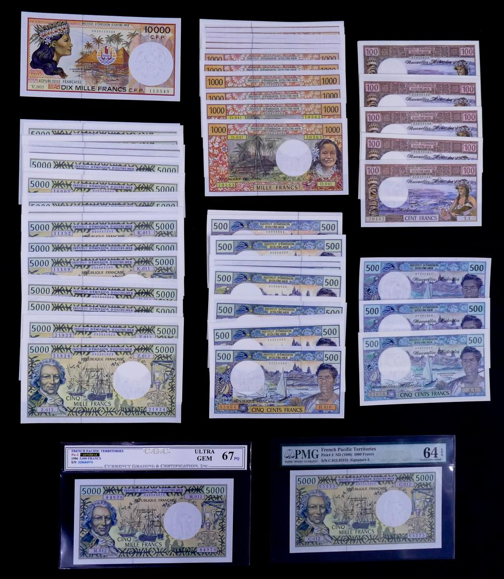 129pc French Pacific Territories and  New Hebrides Banknotes UNC