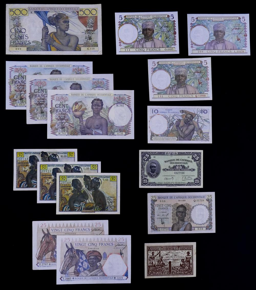 16pc French West Africa Banknotes UNC