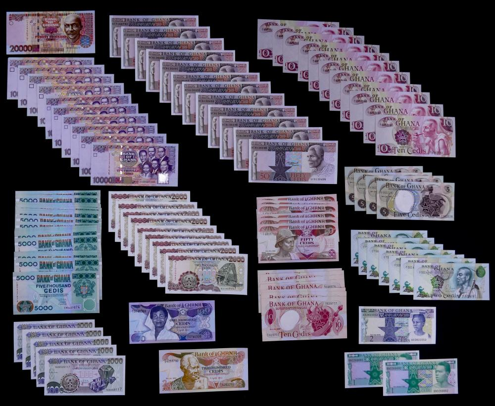 114pc Ghana Banknotes UNC