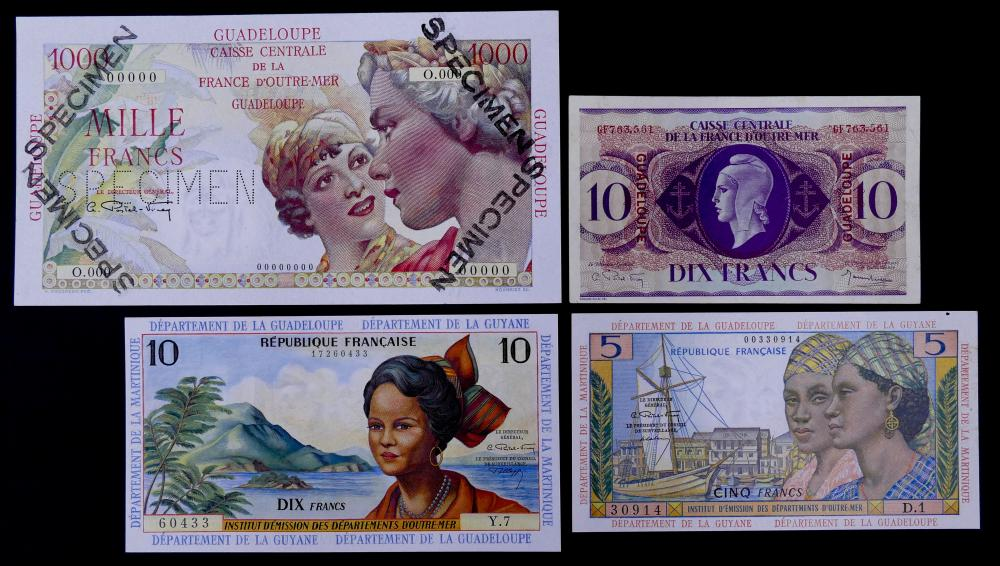 4pc Guadeloupe Banknotes UNC