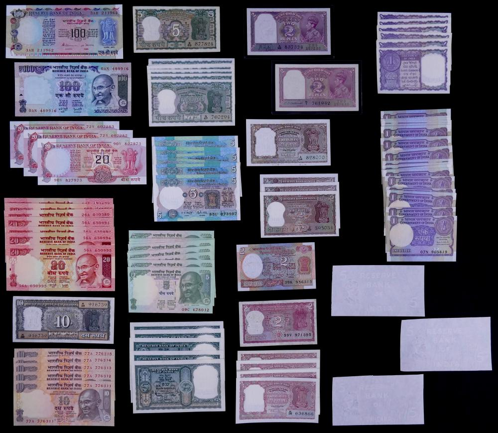 95pc India Banknotes UNC