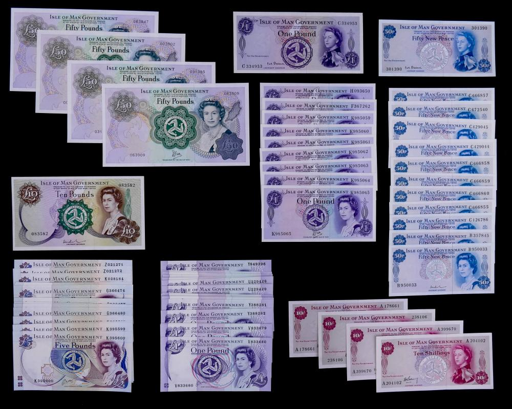 75pc Isle of Man Banknotes UNC
