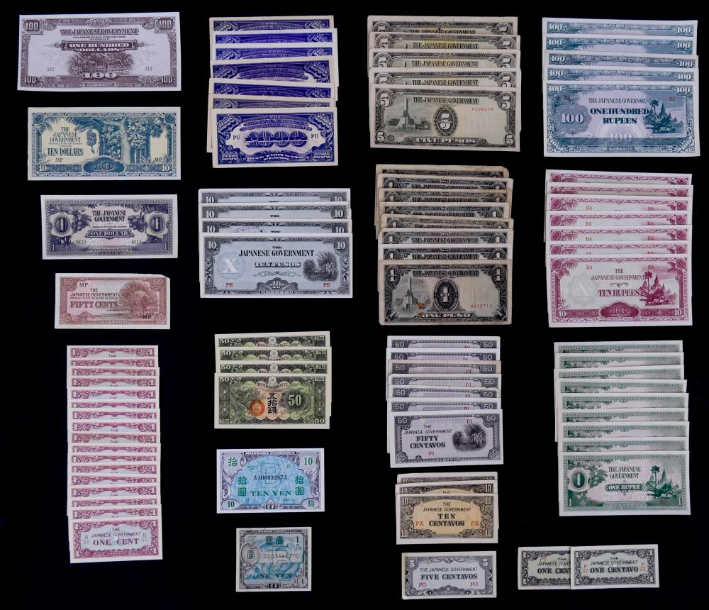 85pc MISC Japanese Occupied Countries WWII Banknotes