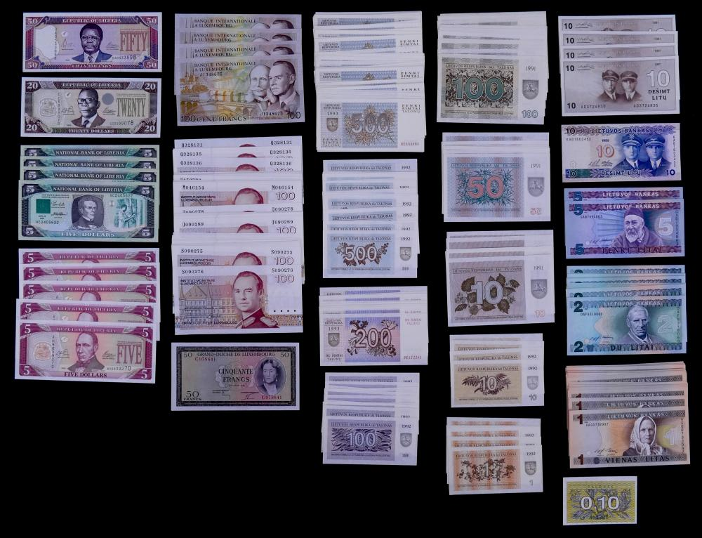 302pc MISC Uncirculated World Banknotes