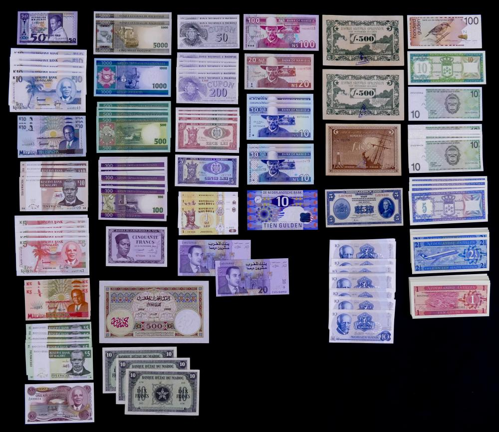 254pc MISC Uncirculated World Currency Banknotes