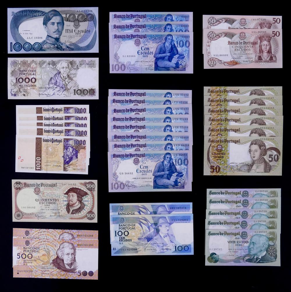 36pc Portugal Banknotes UNC