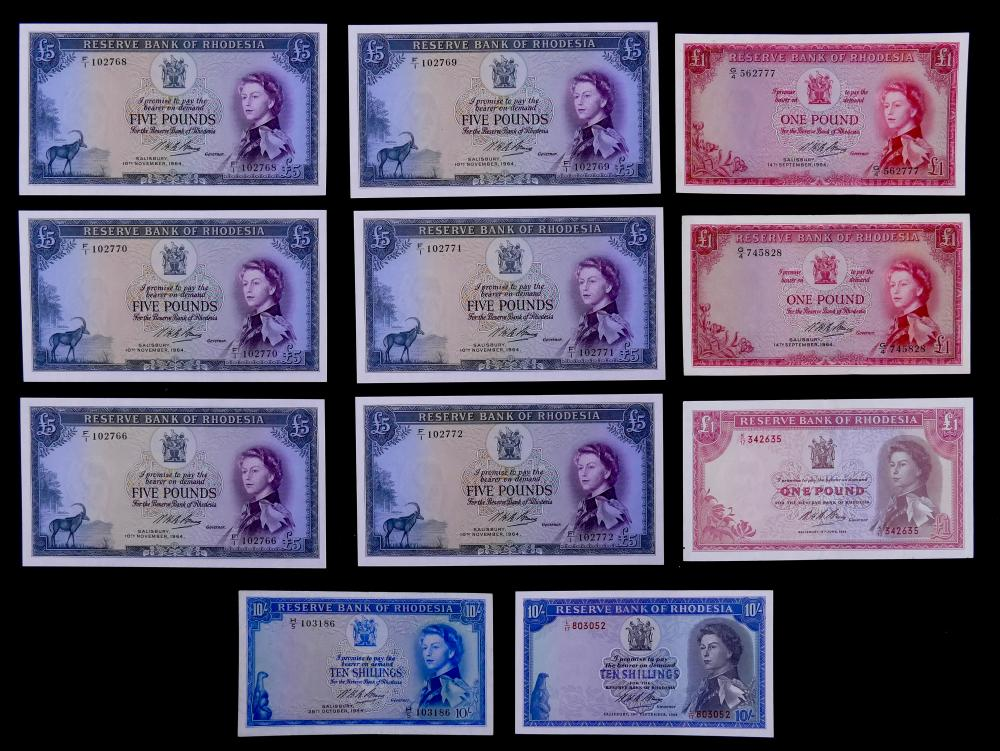11pc Rhodesia Pounds Banknotes UNC