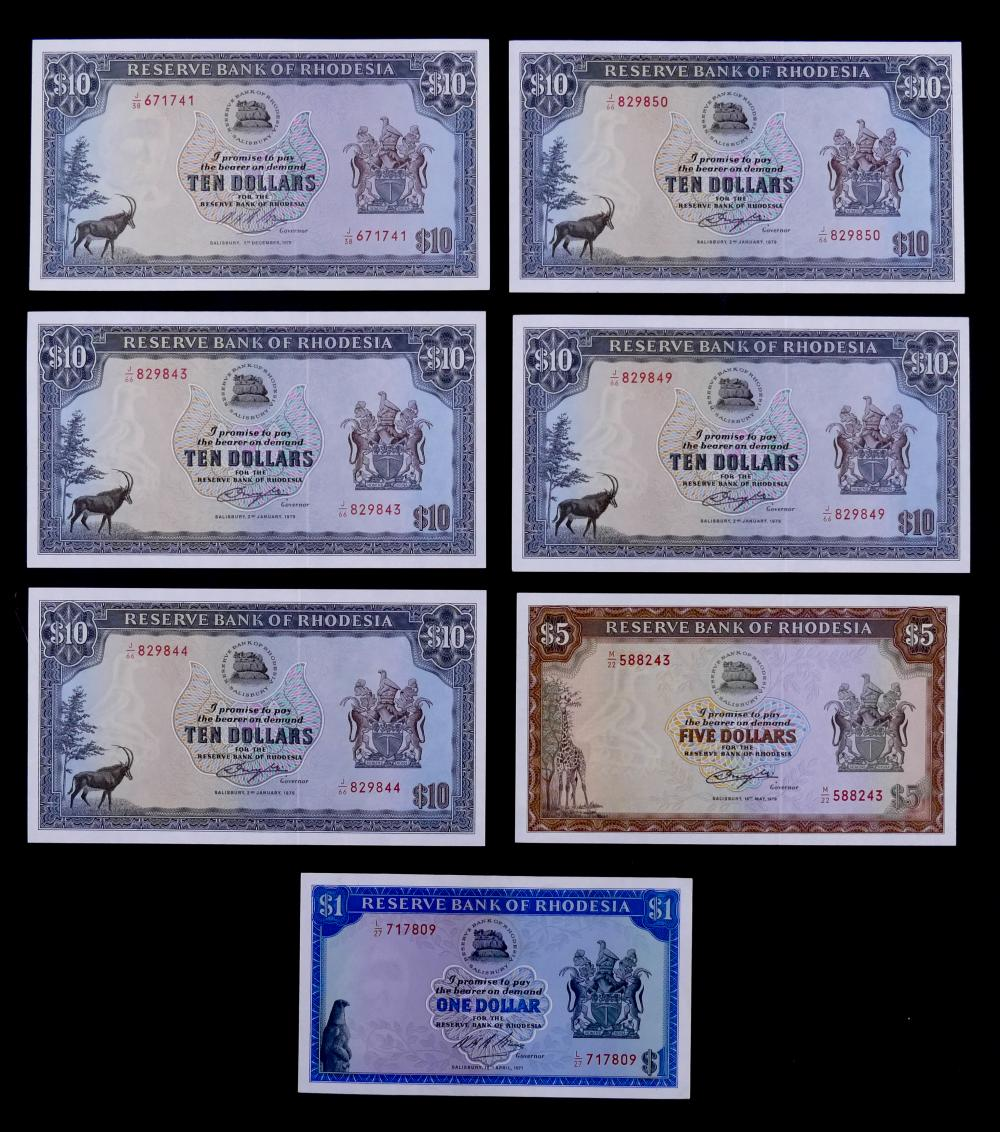 7pc Rhodesia Dollars Banknotes UNC