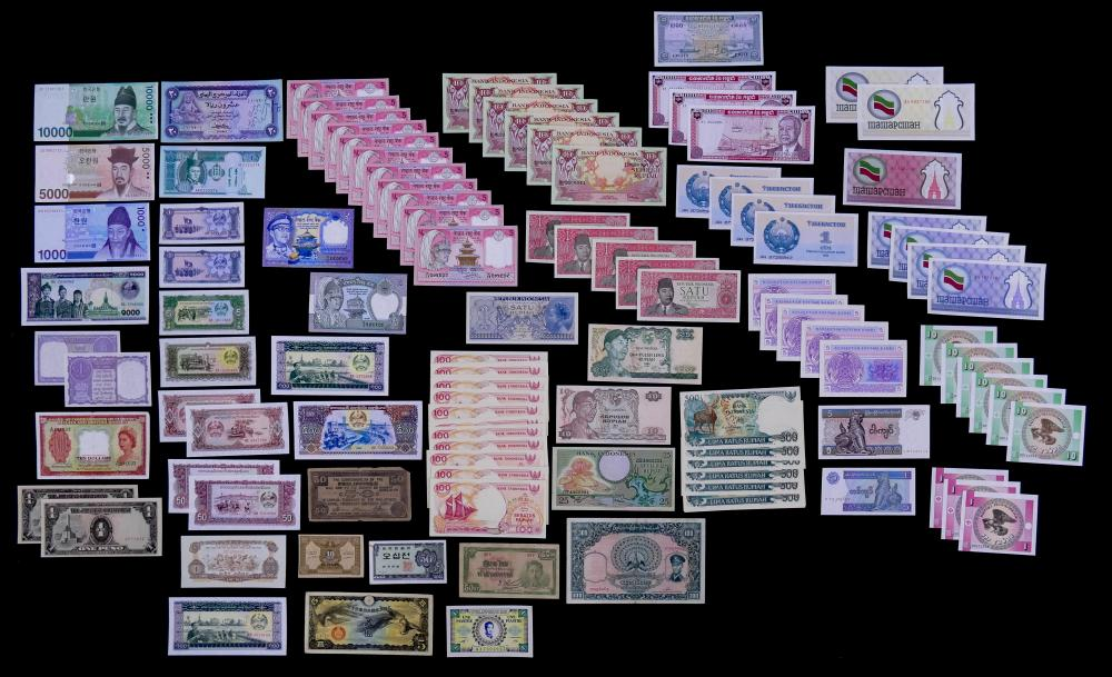 123pc MISC Uncirculated Asia World Currency Banknotes