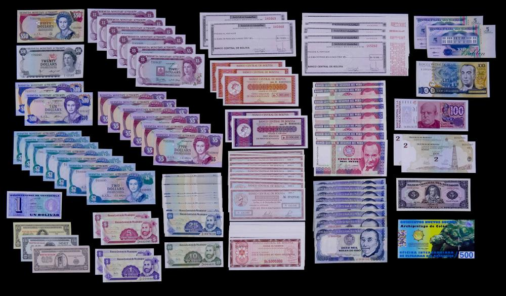 161pc MISC World Currency- Central and South America, Antarctica UNC
