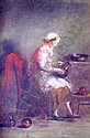 HARALAMBOS POTAMIANOS (1909-1958) Writing at the Desk Signed Lower Right Oil on Canvas 33cm. x 24cm., Charalambos Potamianos, Click for value