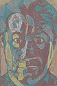 MICHAEL KANE (b. 1935) Self Portrait 24.6.81 Signed Lower Right Mixed Media 60cm x 55cm (23.5in x 21.5in)
