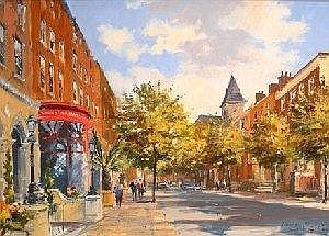 COLIN GIBSON RUA (b. 1948) Dawson Street, Dublin Signed Lower Right Oil on Board 41cm. 56cm.