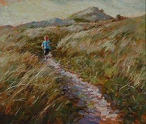 RICK BENTHAM (b. 1950) Running at Brittas Bay Signed Oil on Panel 24cm x 29cm Rick Bentham of Irish/Canadian roots has exhibited widely both in