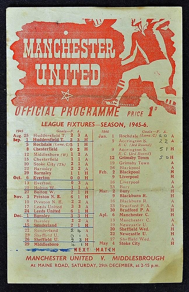 d15ba5287da Lot 708  1945 46 Manchester United v Sheffield United War L