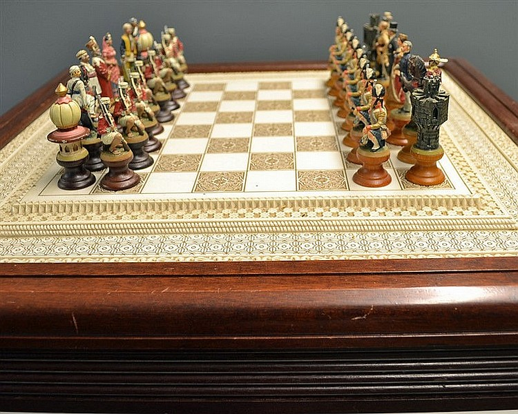 Rare – 1987 Franklin Mint 'The Raj' Chess Set – the table is