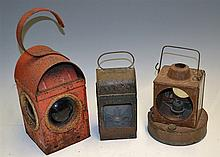 3x Various Railway Lamps one marked BR (W) missing front lens, another Red