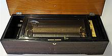 Early Cylinder Music Box marked 'made in Switzerland' in working order, req