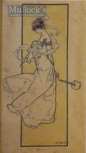 1903 René Bull Signed (1872-1942) Original Sketch of Young Lady Signed and