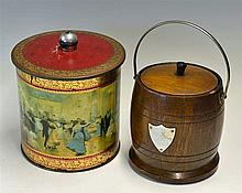 Vintage Biscuit Tin depicting Ballroom dancers and a wooden barrel with han