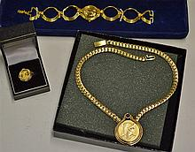 Franklin Mint Cleopatra Bracelet Watch, Ring and Necklace Gold Plated watch