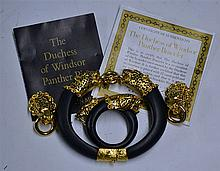 Franklin Mint The Duchess of Windsor Panther Bracelet, Earrings and Pin Set