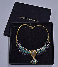 Franklin Mint Jewel of the Nile Scarab Necklace plated in 22 carat gold and