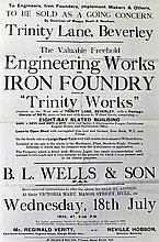 Trinity Works Sale Poster 1934 Trinity Lane, Beverly, Yorks. To be sold as