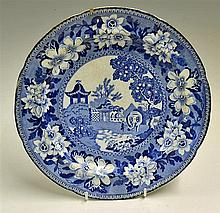 C.1820s John & George Rogers Blue and White 'Elephant' Plate with keeper at