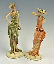 Pair of Art Deco Styled Figurines marked to the bottom 'Millie' and 'Phoebe