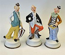 3x Porcelain Hobo Style Bisque Clown Figurines featuring three colourful st