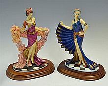 Pair of 1988 The Leonardo Collection Figurines 'The Charleston' art deco st