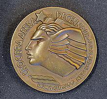 1933 Art Deco Bronze Medallion 'Crociera Aerea Del Decennale' by R. Morbidu