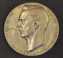 Neville Chamberlain 1938 Plated Medal 'Peace in Our Time' by V. Demanet for