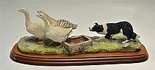Border Fine Arts 'A Wild Goose Chase' Sculpture on wooden plinth measures 3