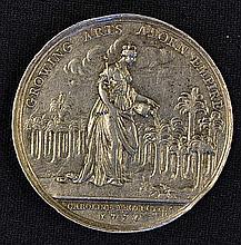 Jernigan's Lottery Impressive Silver Medallion 1736 the obverse; Standing f