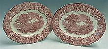 Enoch Wedgwood Tunstall 'Woodland' Serving Plates pink and white, hand engr