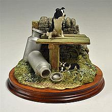 Border Fine Arts 'In The Shade' Sculpture on wooden plinth, measures 22 x 2