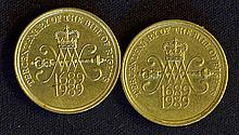 1989 £2 Coins Tercentenary Of The Bill Of Rights 1689-1989 appear in good c