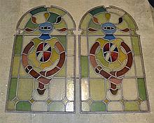 Victorian Stain Glass Window with original Leadwork comprising of 2 large d