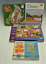 Jigsaw Board game selection including Waddington's Shaped Jig-Saw of North