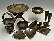 Selection of Indian Brass Items included a set of 6x Miniature Goblets and