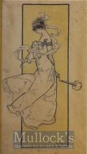 1903 René Bull Signed (1872-1942) Original Sketch of Young Lady Signed and dated 1903 mounted ready