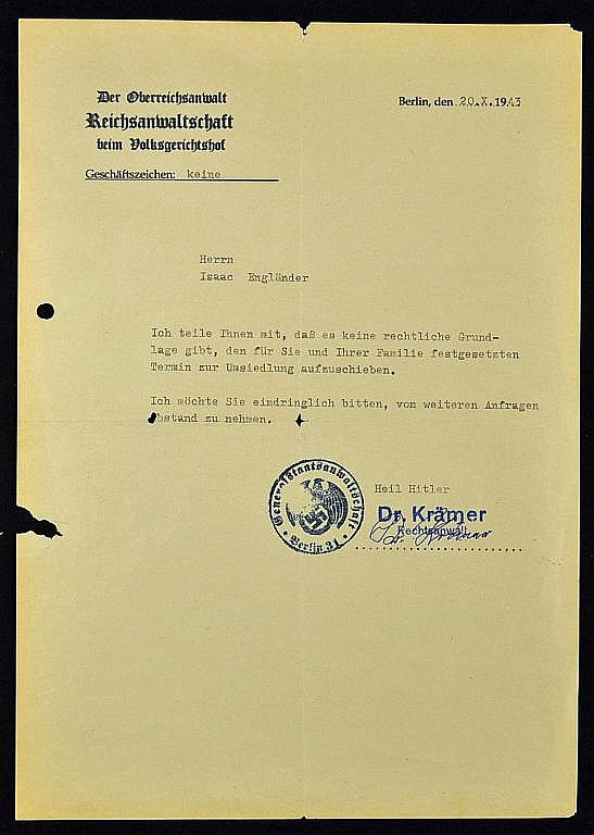 WWII - Deportation letter 'declaring that there is no legal
